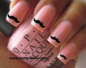 Black Moustache Nail Art Water Transfer Decal Y929 Free set included