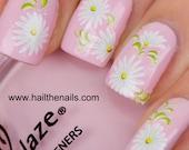 White Daisy Nail Art Water Transfer Decal 085G Summer Wedding Nails