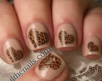 Leopard Print Hearts Nail Art Water Transfer Decal YD11
