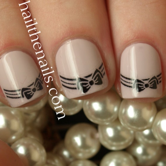 Bow Tip Nail Art Water Transfer Decal Y980