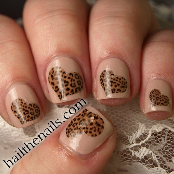 Heart Nail Art: Leopard Print Hearts Nail Art Water Transfer Decal By