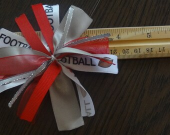 "Cheer-riffic Pom Pom ""I Love Football"" Red and Gray Buckeye 4 inch Hair Bow on Lined Alligator Clip"