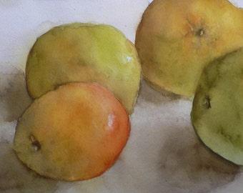 "Oranges 2 -Watercolor Still Life Painting 11x18"" Original Artwork"