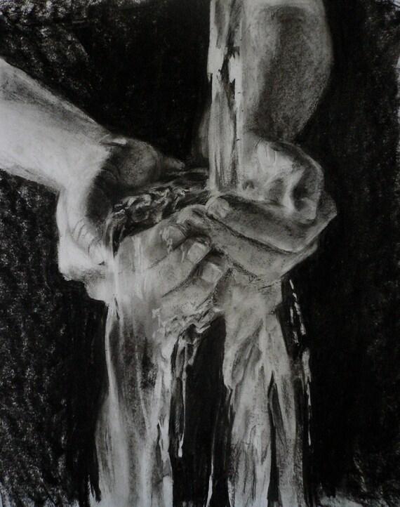 "Water Through Hands -Charcoal Drawing 18x24"" Original Artwork, wall art"