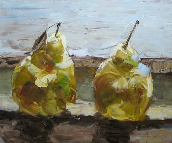 "Pears Ripening on a Windowsill -Oil Still Life Painting 20x24"" Original Artwork"