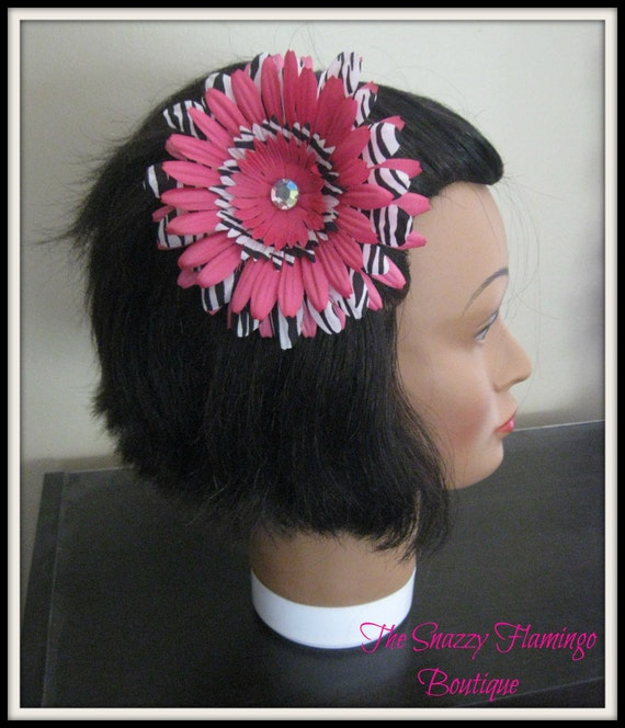 Pink and Zebra Flower clip / Ready to Ship