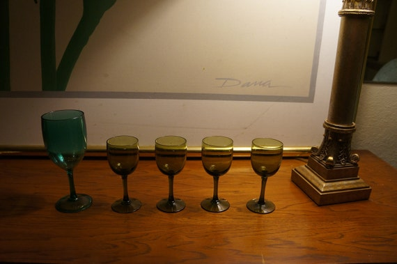 4 Green 5 Mini Wine Tasting Glasses Port Wine Ice By Letabund