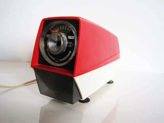 1971 red and cream vintage Mitsubishi pencil sharpener japanese