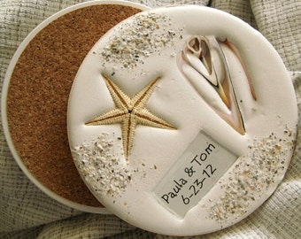 Beach Wedding Coasters  (4) PERSONALIZED....Real shells in absorbent clay. Nautcal wedding coasters. Wedding favors.