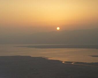 Dawning. | Masada, Israel Sun pops up over Jordan and the Dead Sea. Middle East Sunrise Orange Yellow Gold  Fine Art Photography 8x10
