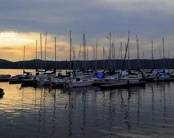 Sleepy Sailboats at  Sunset Fine Art Photography on Golden Payette Lake, ID. 8x10