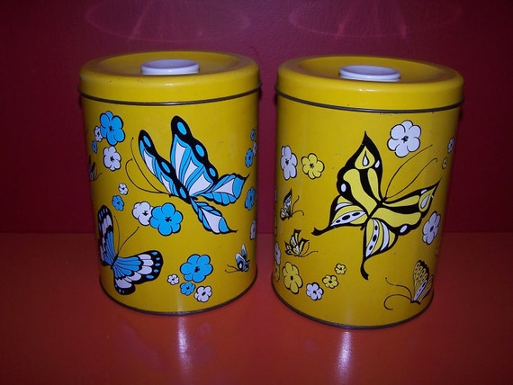 Vintage Ballonoff Kitchen Canisters, Set of Two - Butterflies, 1970's