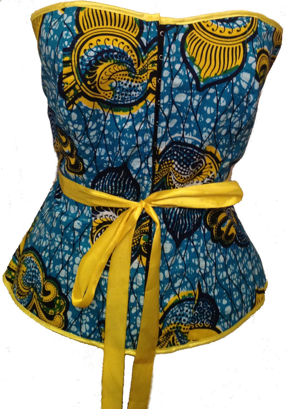 Blue And Yellow Bathroom Decor: Blue And Yellow African Print Corset Top