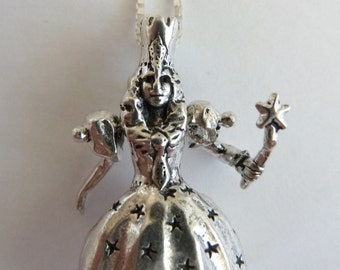 Glinda-Good Witch-Wizard of Oz-Sterling Silver Movable Pendant-Charm-Jointed-Articulated