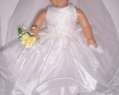 American Girl Doll Ruffled Wedding Gown and Veil Set