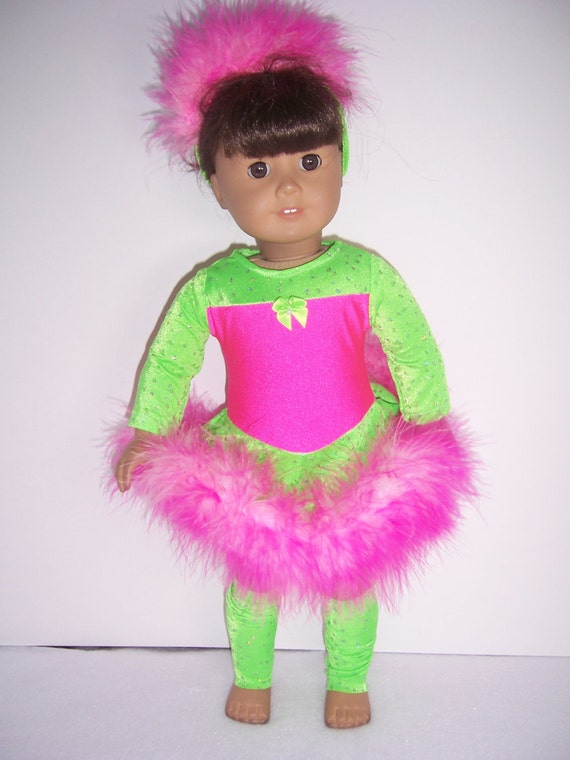 American Girl Neon Green and Hot Pink Dance Set
