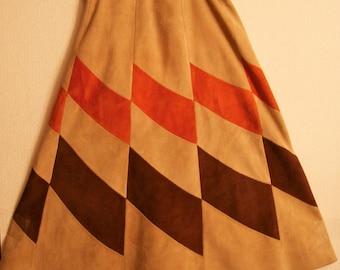 Vintage 70's Deer Suede Rectangle Midi Skirt, Tan, Burnt Orange, Chocolate Brown