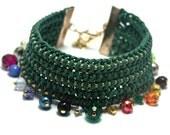 Bohemian cuff bracelet, deep green macrame with colorful swarovski and beads