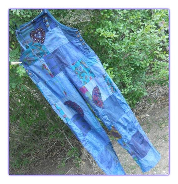 Cute Vintage Patchwork Hippie Boho Overalls