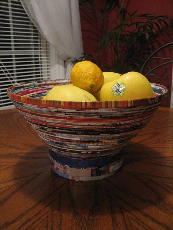 Upcycled Magazine Fruit Bowl