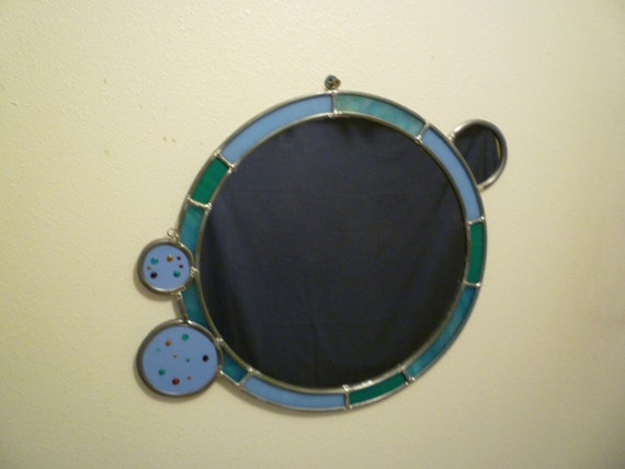 modern round fused glass mirror