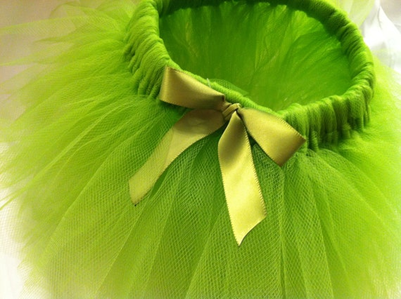 Lime Green Tutu with matching bow embelishment - Baby Girls - Baby shower gift -