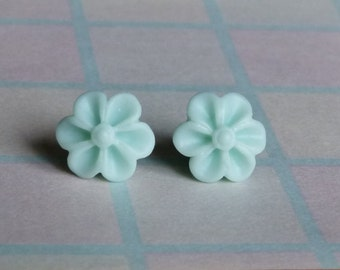 Soft Aqua Chrysanthemum Earrings