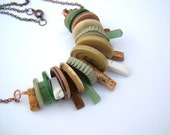 Vintage Buttons and stones green and brown mix OOAK Necklace