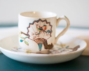 Chic Oriental Inspired Vintage Espresso/Tea Cup and Saucer
