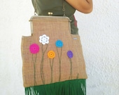 metal frame handbag with fringe and crochet flowers. Mod 12.26