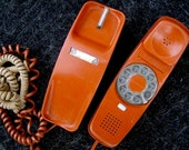 Vintage Trimline Phone 70s 1970s Western Electric Telephone Michigan Bell Burnt Orange Mod Rotary Dial two cords