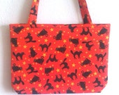 Halloween Black Cats on ORANGE small purse or tote