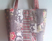 Quilted Patchwork Moda Martinique tote or purse Grey Brown floral 10% off