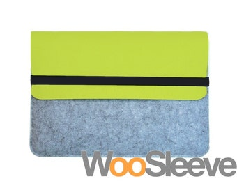 "11"" inch Apple Macbook Air Sleeve Case Cover Laptop Sleeve Case Cover -- Yellow Green & Light Grey"