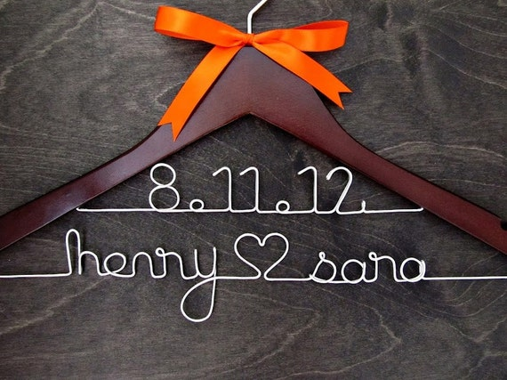 Wedding Hanger - Double Stack Personalized Name Date