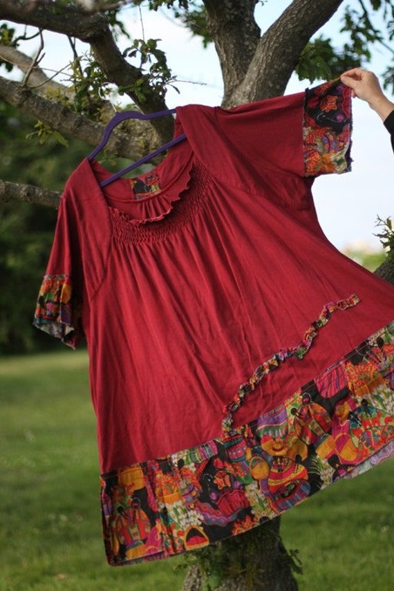 Tunic Dress Top Red tag- Gorgeous red for a gorgeous lady / 5X / Upcycled Dress / One of a kind by FourX