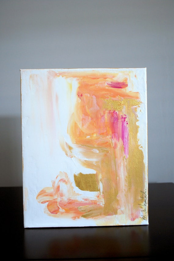 8x10 Peach/Gold Abstract