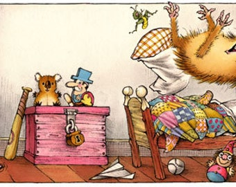 Mercer Mayer's Little Critter Jumping on the Bed Just For You Giclee Print signed JFY1415 Free Shipping
