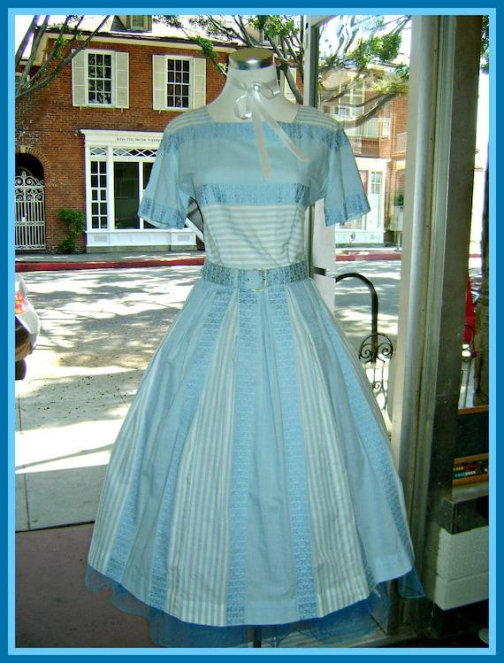 Vintage Blue Cotton Nelly Don Dress with Belt