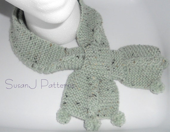 Knit Necktie Pattern : Bow Tie Cable Scarf Knitting Pattern PDF