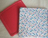 Reversible Fabric Coasters - Vintage Red White Blue Floral and Dots