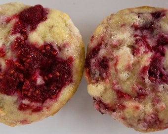 FREE SHIPPING - Raspberry muffins - 12 full-sized muffins