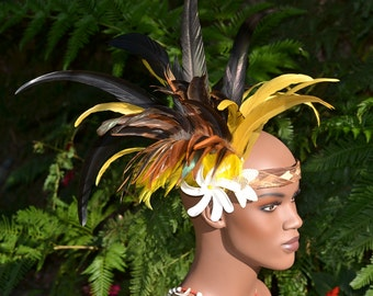 Golden yellow, brown and black feather contemporary style Tahitian headband