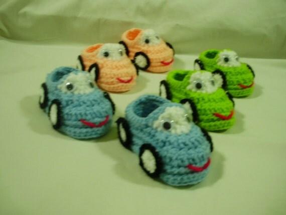 1 (cars) handmade crochet shoes