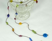 Colourful Rainbow Lariat Necklace with foil-wrapped glass beads
