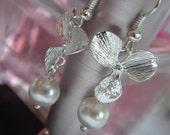 Swarovski Pearl Silver Orchid Bridal Earrings