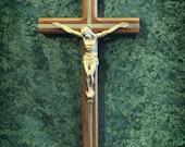 "10"" Walnut Brass Inlay Crucifix"