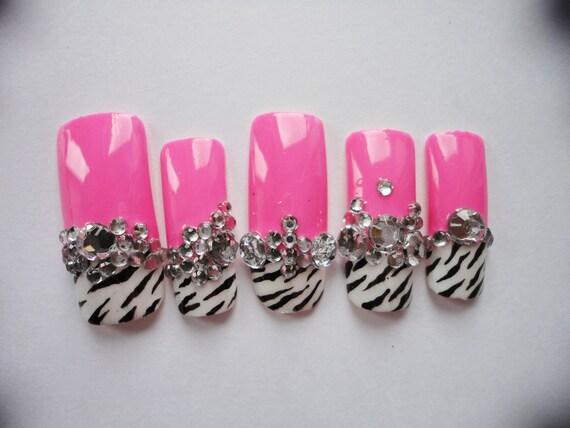 Pink, Zebra Barbie Kawaii Deco Gyaru/Lolita Nails