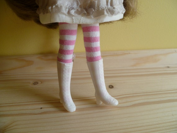 RESERVED ///////  Vintage long White Boots - Blythe Doll size.