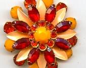 Red and Orange Rhinestone Flower Pin